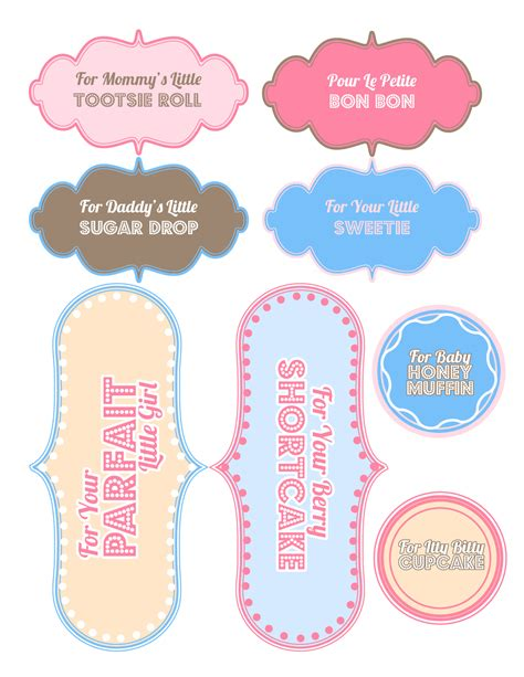 7 best images of printable labels templates baby shower