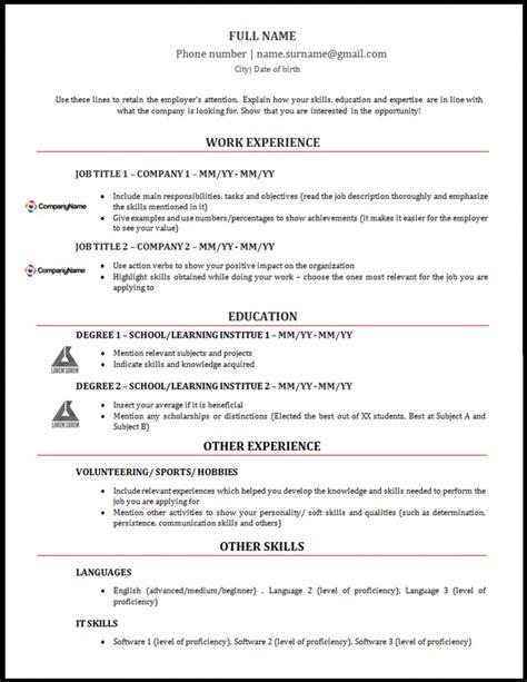 Modelo Curriculum Ingles Modelo De Curriculum Vitae Em Ingl 234 S Alerta Emprego