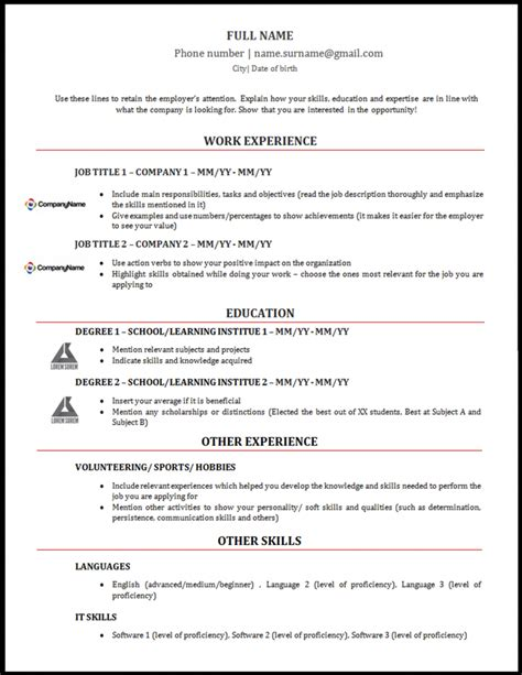 Modelo Curriculum Vitae Profesor Ingles Modelo De Curriculum Vitae Em Ingl 234 S Alerta Emprego