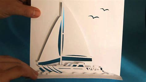 pop up ship card template sailing yacht pop up card