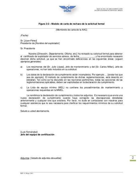 carta de rechazo solicitud anexo al manual usuario