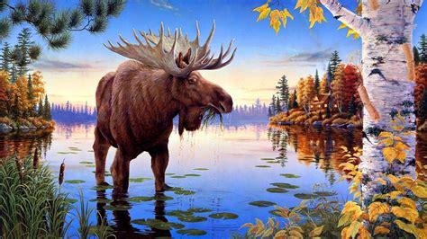 elk painting art  ultrahd wallpaper wallpaper studio