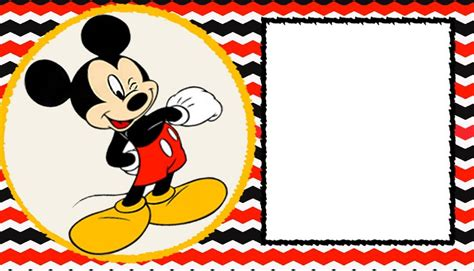 Mickey Mouse Card Template by Free Blank Mickey Mouse 1st Invitation Chevron Template