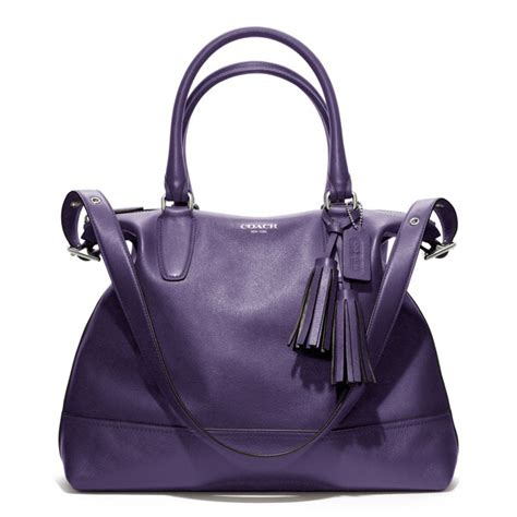 This Is A Coach Bag It Was Handcrafted In China - lyst coach legacy leather rory satchel in purple