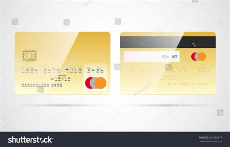 Blank Credit Card Template Vector Blank Golden Debit Or Credit Card Template With Chip And Magnetic Stock Vector Illustration
