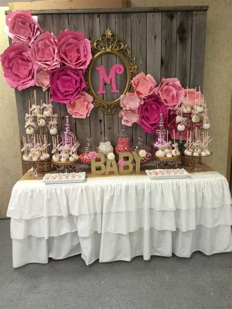 girl baby shower table decorations 31 cute baby shower dessert table d 233 cor ideas digsdigs