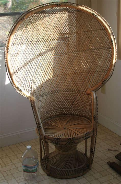 antique wicker rattan peacock fan back chair vintage big