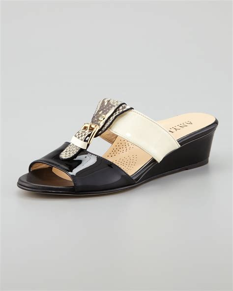 wedge slide sandals anyi lu buckled low wedge slide sandal in black