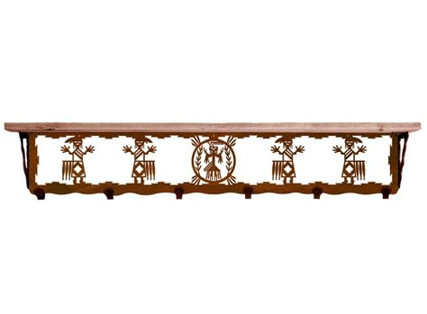 42 quot yei metal wall shelf and hooks with pine wood top
