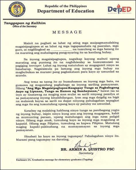 Valedictorian Speech Tagalog Sle sle graduation speech for elementary school tagalog