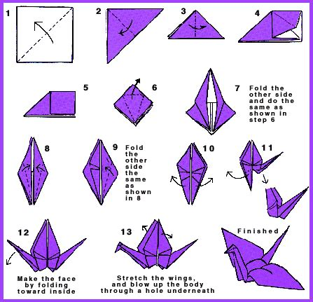 Origami Bird Directions - extremegami how to make a origami crane