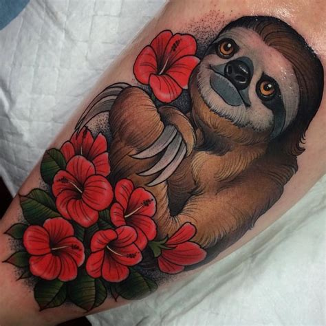 flowers sloth tattoo best tattoo ideas gallery