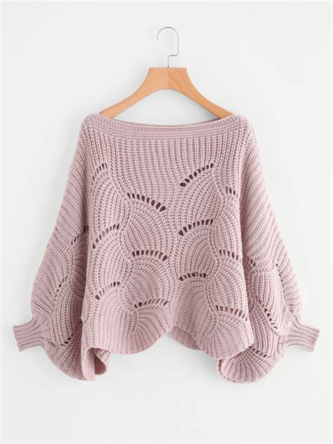 knit pattern dolman sweater loose knit scalloped dolman sweater shein sheinside
