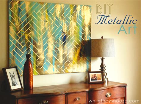 diy projects painting walls while they snooze diy herringbone metallic artwork easy