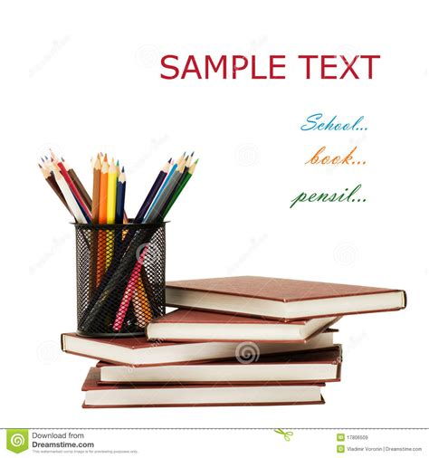 concept picture books back to school concept with books and pencils stock image