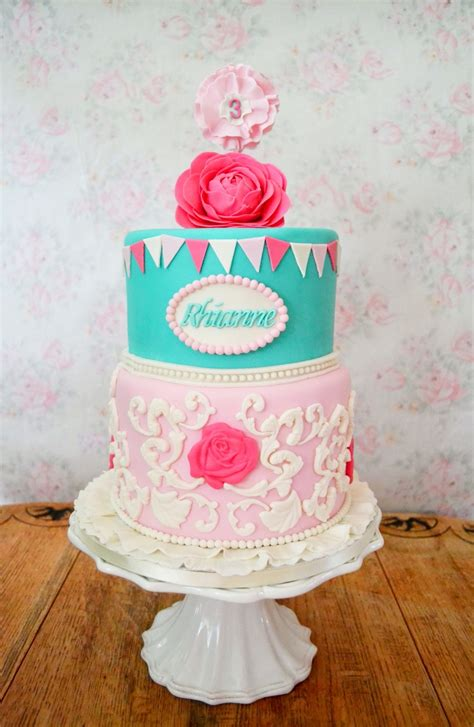 a girly girl shabby chic inspired birthday cake vintage