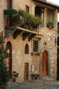 Tuscan House European Stone Bracket Balcony On Stone House Tuscany
