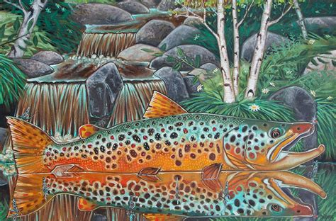 Dekorasi Dinding Abstract Painting 4in1 brown trout waterfall original painting derek