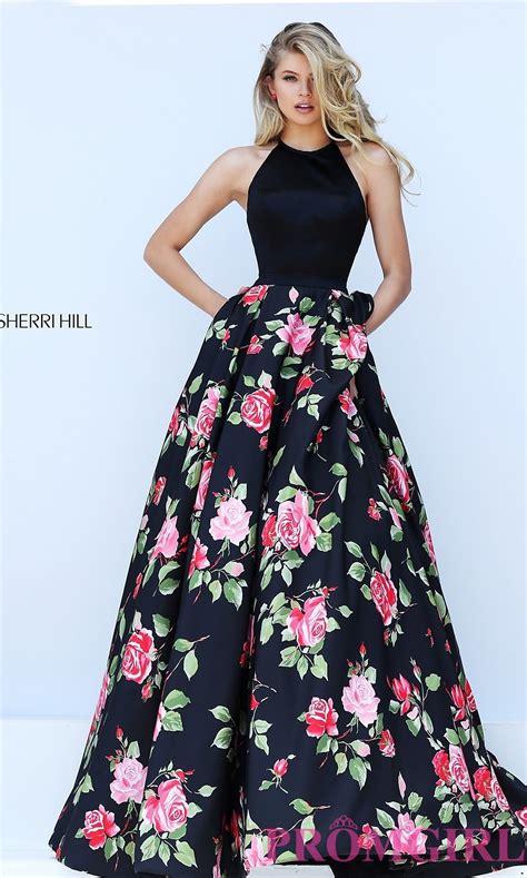 Flower Dresses by Black Floral Print Halter Top Dress Promgirl