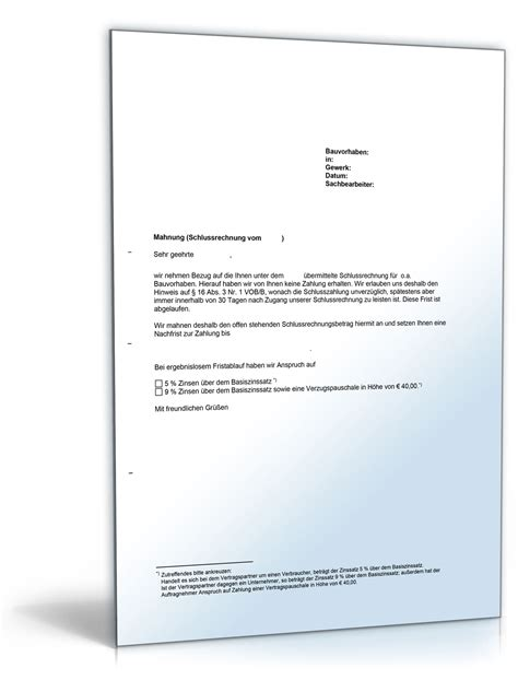 Nachtragsangebot Muster Mahnung Einer Schlusszahlung Vob Vertrag De