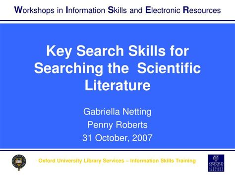 ppt key search skills for searching the scientific literature powerpoint presentation id 3643789