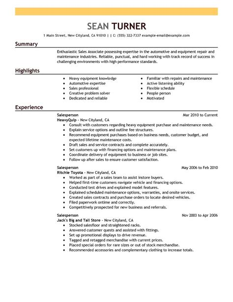 best retail salesperson resume exle livecareer