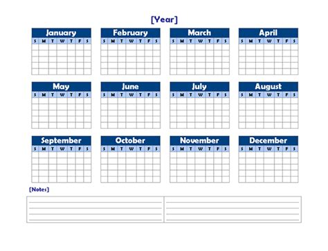 blank yearly school calendar yearly blank calendar landscape with notes free