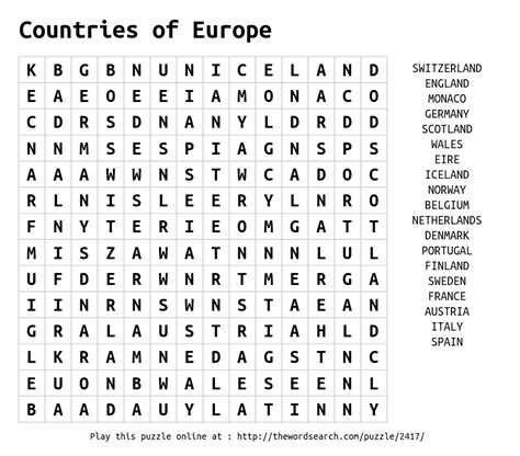 Printable Word Search Europe   download word search on countries of europe