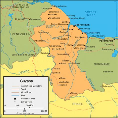 where is guyana on the world map map of guyana