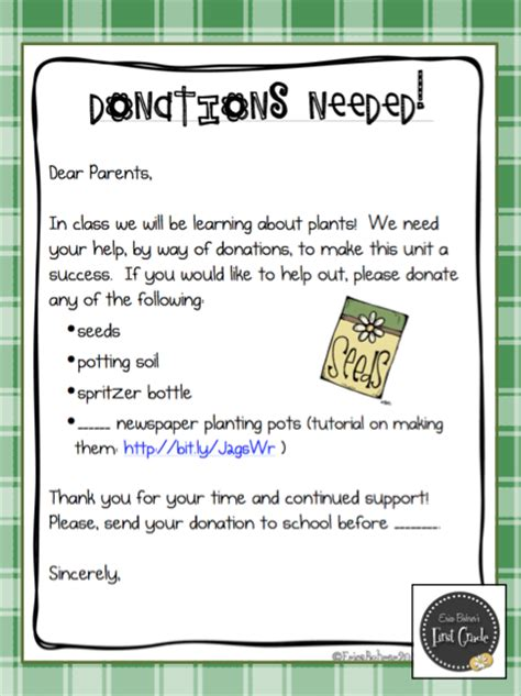 Donation Letter To Parents Classroom Freebies Seed To Plant Donation Letter