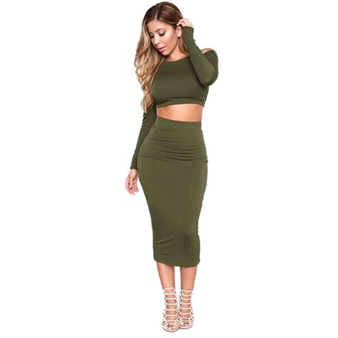 autumn knitted set skirt and knit crop top sleeve backless cross stap bodycon bandage