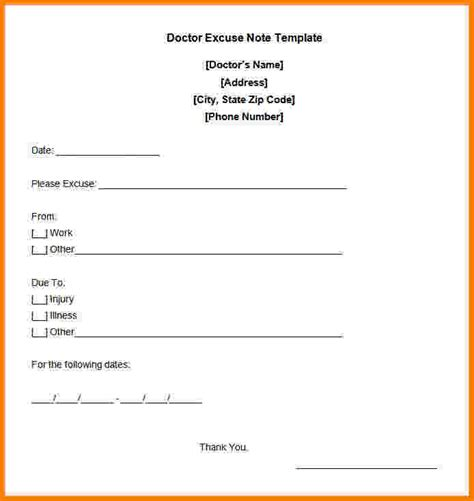Excuse Letter Card 9 Free Printable Doctors Note For Work Card Authorization 2017