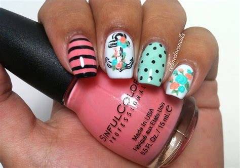 summer acrylic nail designs with anchor nails by celine anchor nail art part ii