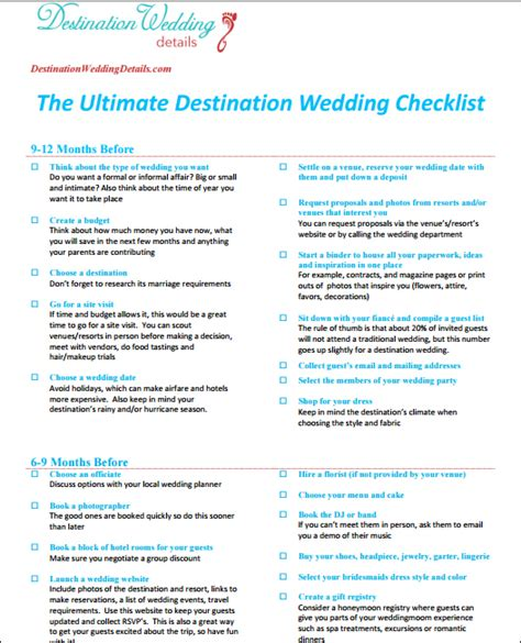 Checklist For Destination Wedding Destination Wedding Schedule Of Events Template