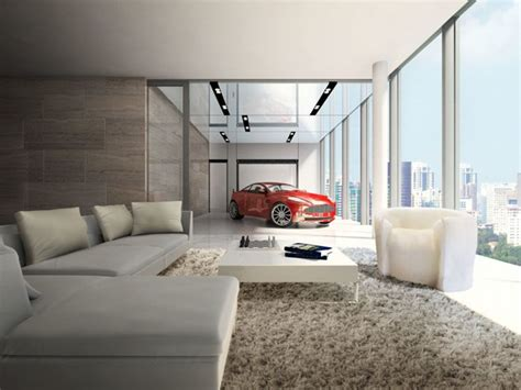 car in living room in these luxury condos you can actually park your car next