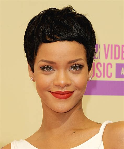 rihanna short hairstyles front and back view hairstyle rihanna short straight casual pixie hairstyle black