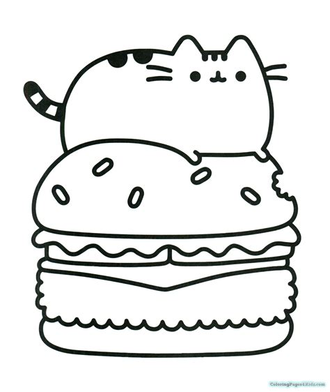 coloring pages for pusheen the cat pusheen cat on a hamburger coloring pages coloring pages