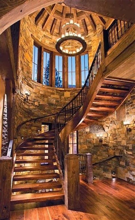 beautiful stairs rustic semi spiral staircase stairway wood cabin stone