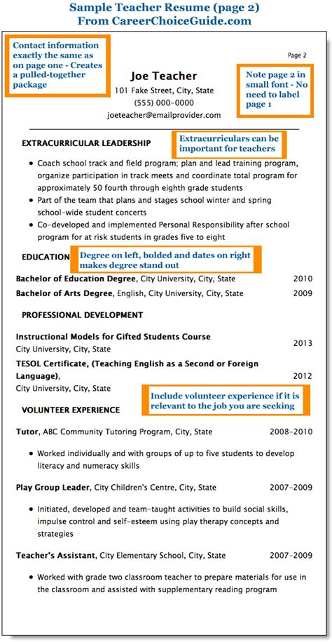 sle teacher resume combination style