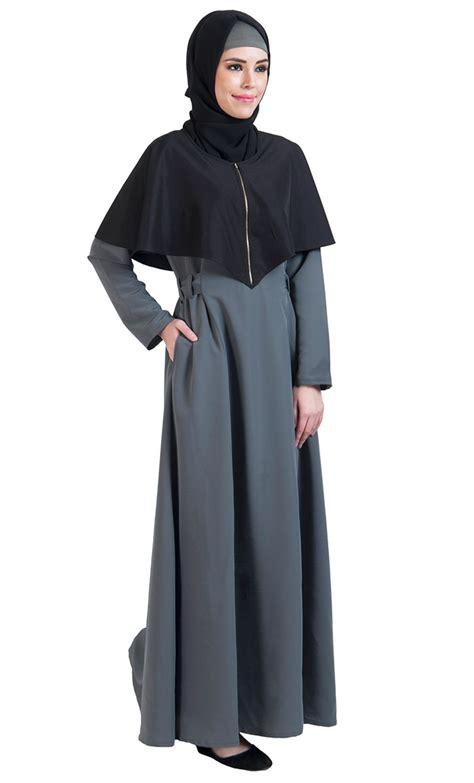 Cape Arab Vs black grey open front cape abayas
