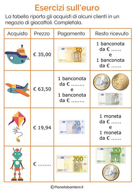 esercizi spagnolo con tutte 8882118606 schede didattiche sull euro per bambini della scuola primaria classe