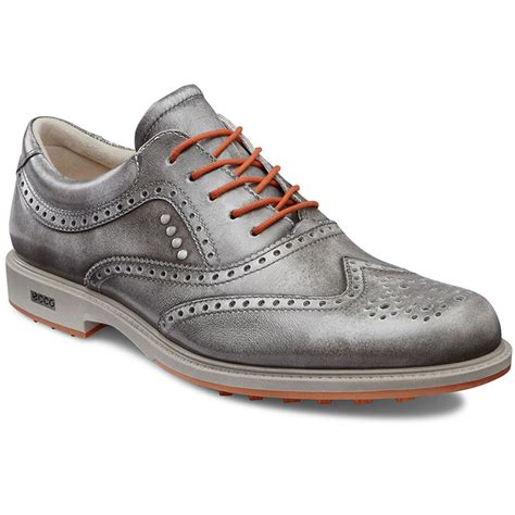 ecco tour hybrid wingtip golf shoes mens grey orange at