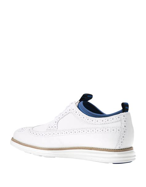 white wingtip oxford shoes cole haan leather wingtip brogue oxfords in white for