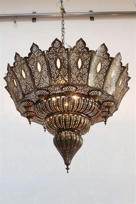 Large Moroccan Chandelier Large Moroccan Pierced Brass Chandelier At 1stdibs