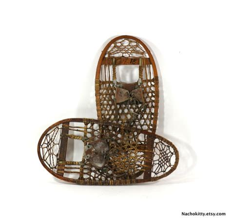 Handmade Snowshoes - 1900s snowshoes handmade materials vintage by