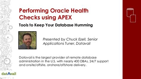 Apex Background Check Performing Oracle Health Checks Using Apex