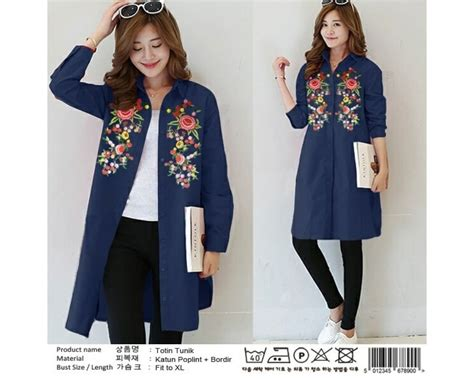Blouse Katun Bordir Fit To Xl by Baju Korea Tunik Totin Bordir Navy