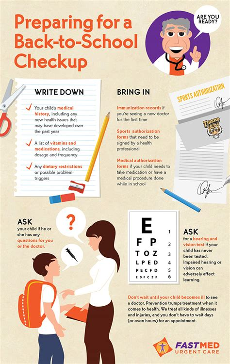 7 Ways To Prepare For Back To School by Preparing For A Back To School Checkup Infographic