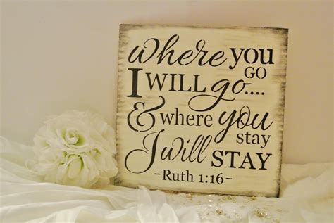 wedding bible verses about bible verse sign wood sign wedding sign where you go i will go