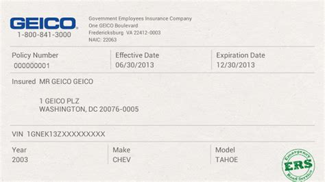 Fake Geico Insurance Card Template » ibrizz.com